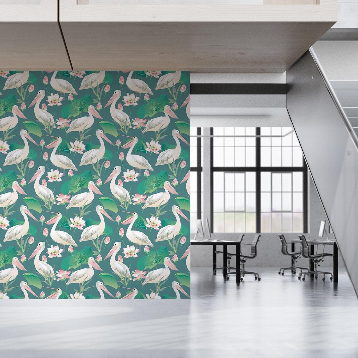 """Grüne Vogel Tapete """"Pelican Pond"""" mit Pelikanen und Seerosen angepasst an Little Greene Wandfarben  2"""