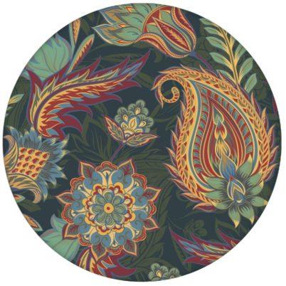 """Edle blaue Design Tapete """"Classic Paisley"""" mit dekorativem Blatt Muster (klein) für Wohnzimmer"""