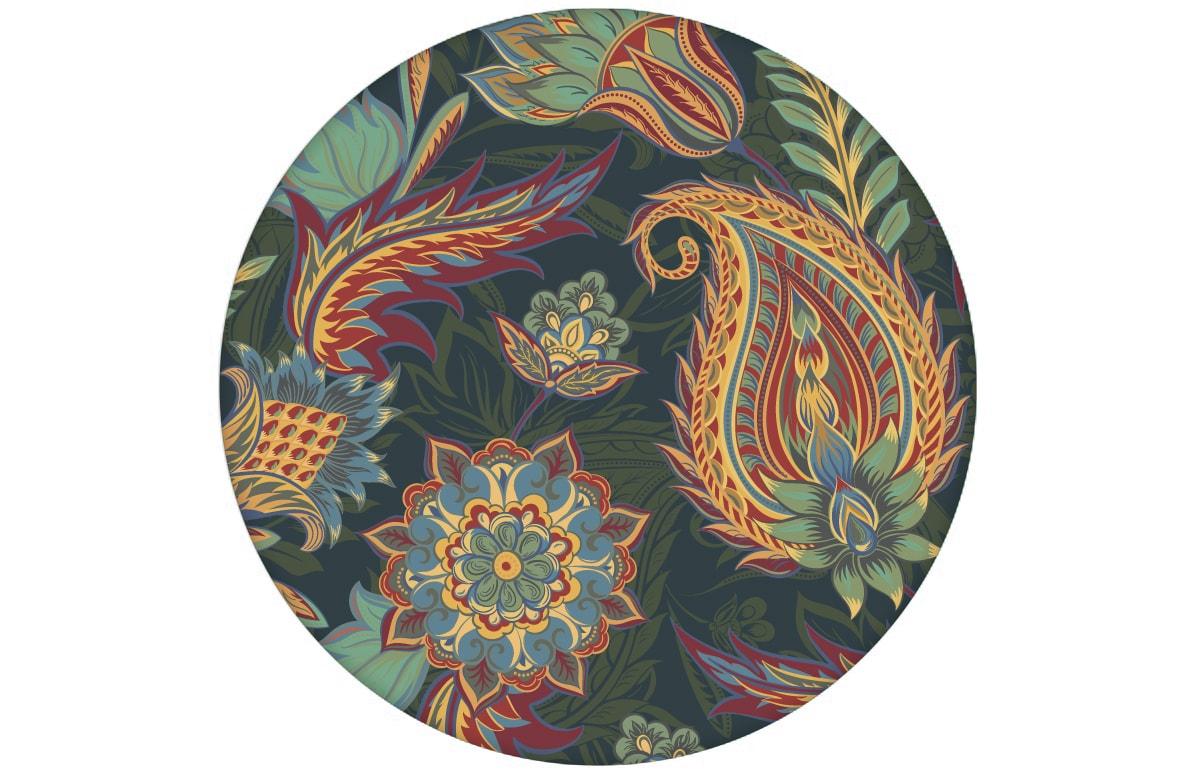 "Edle blaue Designer Tapete ""Classic Paisley"" mit dekorativem Blatt Muster (klein) angepasst an Farrow and Ball Wandfarbe"