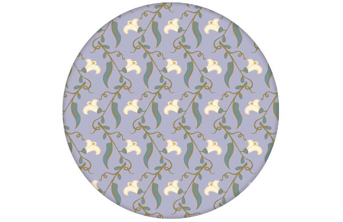 "Klassische lila Tapete ""Happy Peas"" mit blühenden Erbsen Ranken (klein) in angepasst an Little Greene Wandfarben"