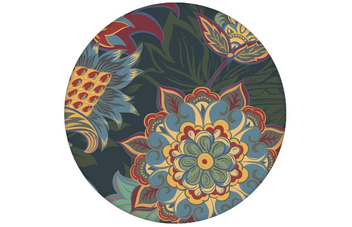 "Groß gemusterte blaue Designer Tapete ""Classic Paisley"" mit dekorativem Blatt Muster angepasst an Farrow and Ball Wandfarbe"