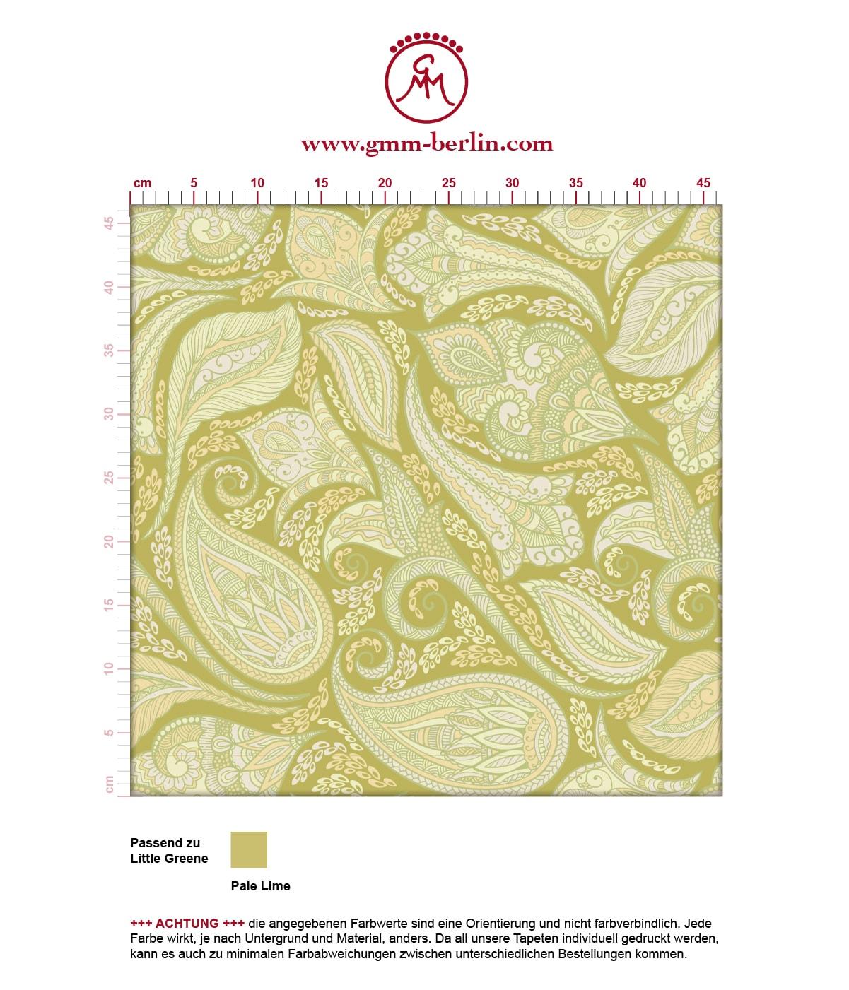 """Grüne edle Designer Tapete """"Grand Paisley"""" mit großem dekorativem Blatt Muster angepasst an Little Greene Wandfarben"""
