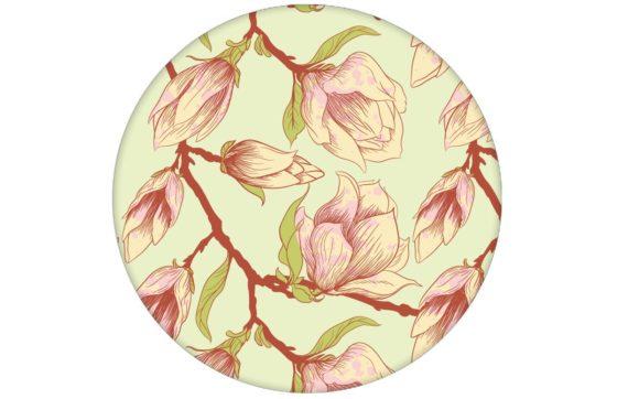 """Zarte edle Blüten Tapete """"Blooming Magnolia"""" mit blühender Magnolie für Wohnzimmer"""