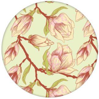 """Zarte edle Blüten Tapete """"Blooming Magnolia"""" mit blühender Magnolie für Wohnzimmeraus dem GMM-BERLIN.com Sortiment: grüne Tapete zur Raumgestaltung: #blueten #blühen #blumen #fruehling #gruen #Magnolie #schlafen #Schöner Wohnen #Wohnzimmer für individuelles Interiordesign"""
