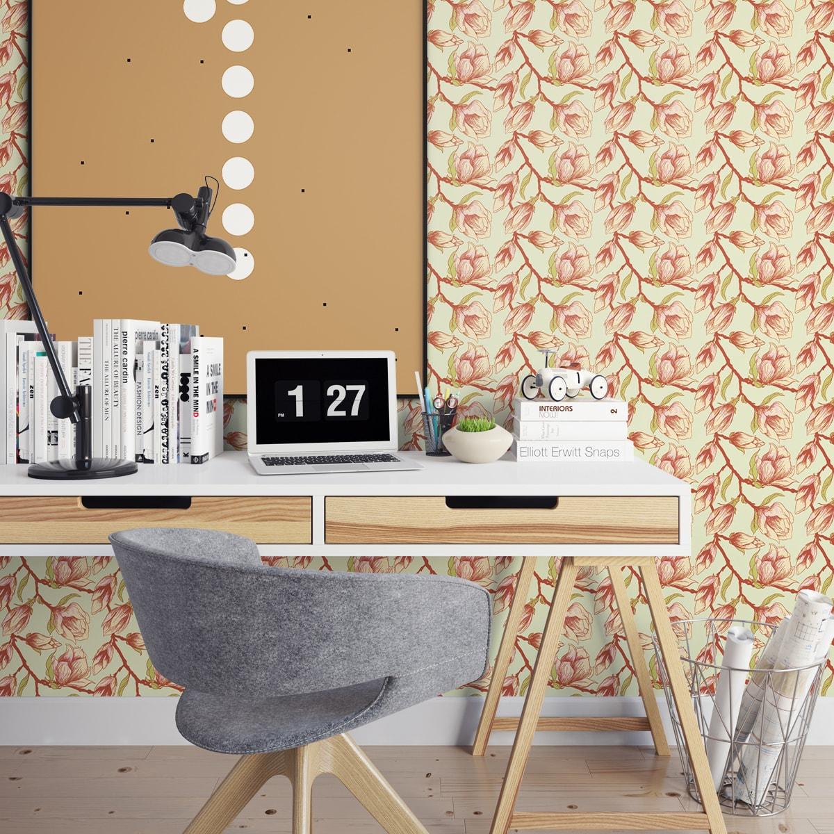 zarte mognolien blumentapete blooming magnolia gmm. Black Bedroom Furniture Sets. Home Design Ideas