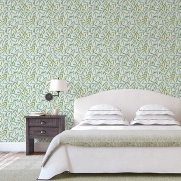 "Zarte schöne Weiden Tapete ""Magic Willow"" mit Blätter Dekor auf grau angepasst an Farrow and Ball Wandfarben"
