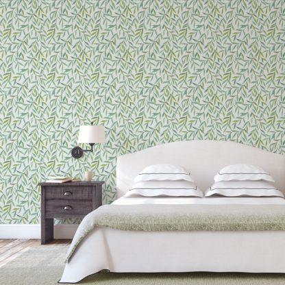"""Wandtapete grün: Zarte schöne Weiden Tapete """"Magic Willow"""" mit Blätter Dekor auf grau angepasst an Farrow and Ball Wandfarben"""