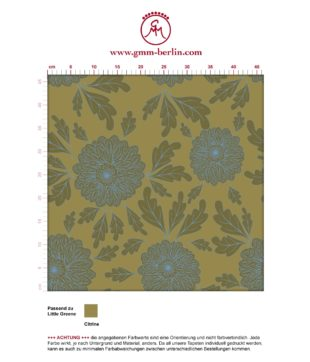 "Eleganter Tapeten Klassiker hellblau grün ""Pompadour Dahlien"" mit edlen Blüten angepasst an Little Greene Wandfarben"