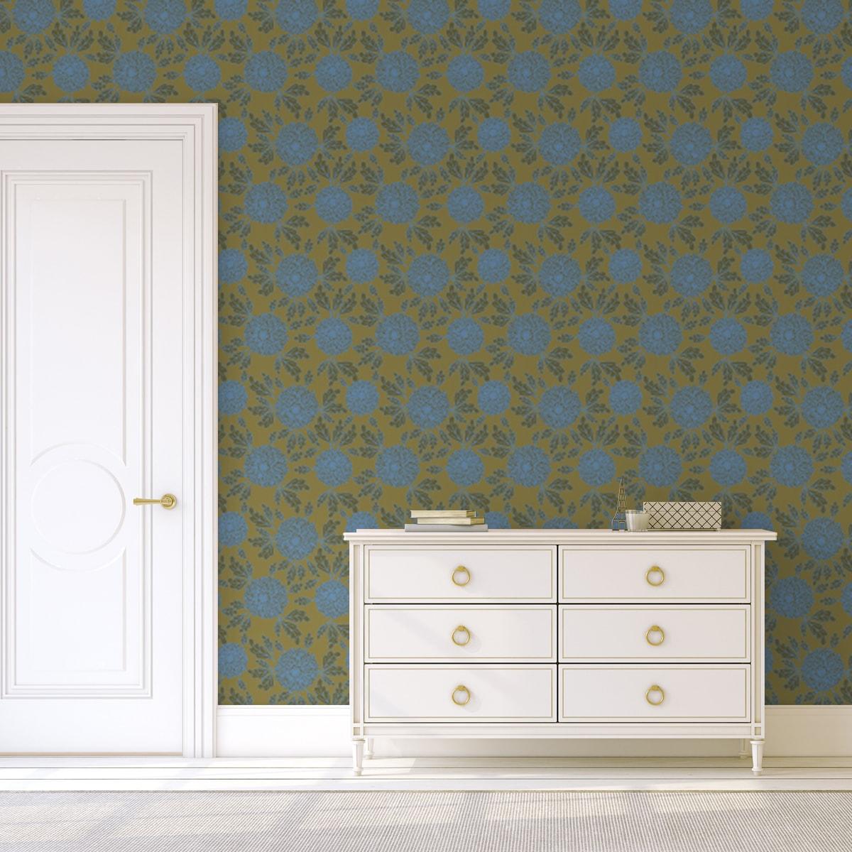 """Wandtapete erbsen grün: Eleganter Tapeten Klassiker hellblau grün """"Pompadour Dahlien"""" mit edlen Blüten angepasst an Little Greene Wandfarben"""