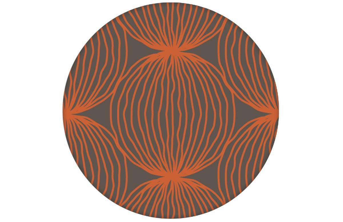 """Orange moderne Designer Tapete """"Grafic Pompoms"""" mit Kreis Kugel Motiv angepasst an Little Greene Wandfarben"""