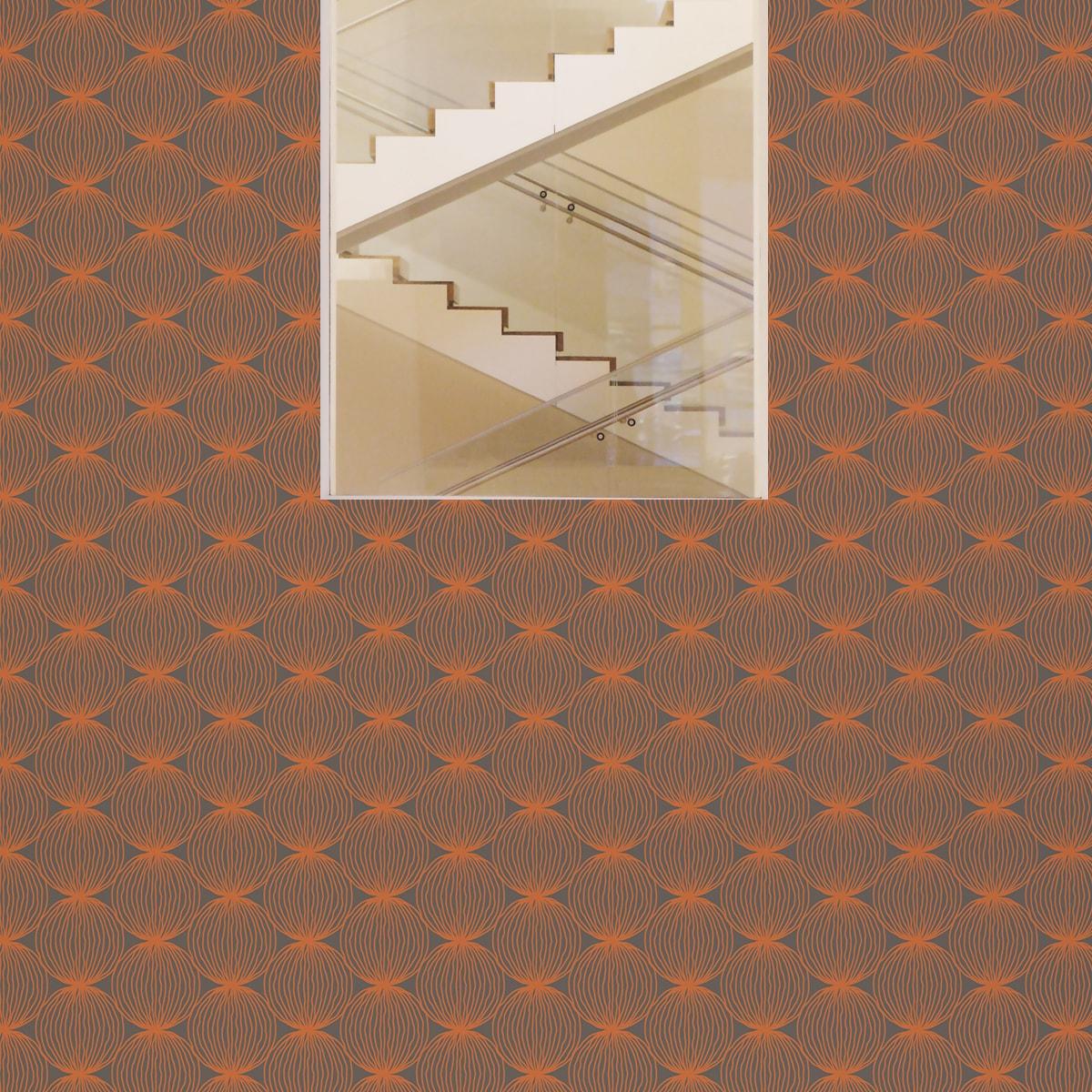 """Wandtapete orange: Orange moderne Designer Tapete """"Grafic Pompoms"""" mit Kreis Kugel Motiv angepasst an Little Greene Wandfarben"""