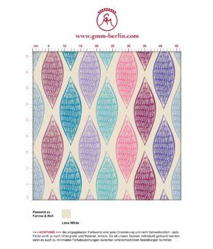 """Lila moderne Designer Tapete """"Regenbogen Waben"""" mit bunten Farben angepasst an Farrow and Ball Wandfarben"""