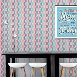 """Wandtapete rosa: Lila moderne Designer Tapete """"Regenbogen Waben"""" mit bunten Farben angepasst an Farrow and Ball Wandfarben"""