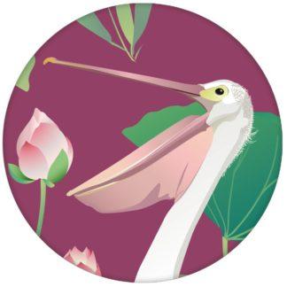 """Lila Vogel Tapete """"Pelican Pond"""" mit Pelikanen und Seerosen tolle Wandgestaltung"""