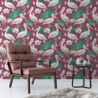 "Lila Vogel Tapete ""Pelican Pond"" mit Pelikanen und Seerosen angepasst an Little Greene Wandfarben"