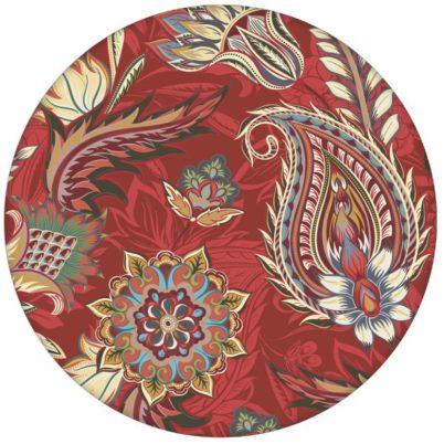 """Rote edle Design Tapete """"Classic Paisley"""" mit dekorativem Blatt Muster (klein) für Schlafzimmer"""