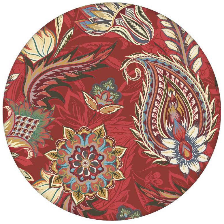 """Rote edle Design Tapete """"Classic Paisley"""" mit dekorativem Blatt Muster (klein) für Schlafzimmeraus dem GMM-BERLIN.com Sortiment: rote Tapete zur Raumgestaltung: #Ambiente #floral #interior #interiordesign #Little Greene #Paisley #rot #Stil #üppig für individuelles Interiordesign"""
