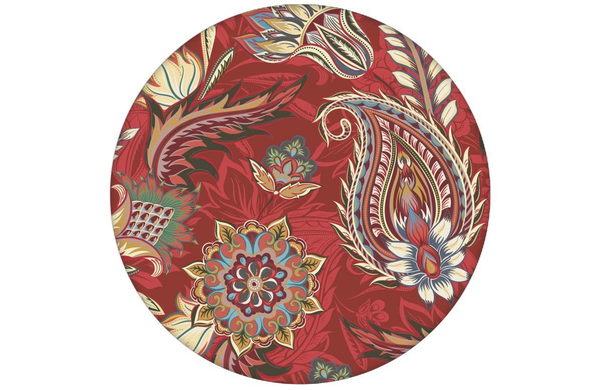 "Rote edle Designer Tapete ""Classic Paisley"" mit dekorativem Blatt Muster (klein) angepasst an Little Greene Wandfarben"