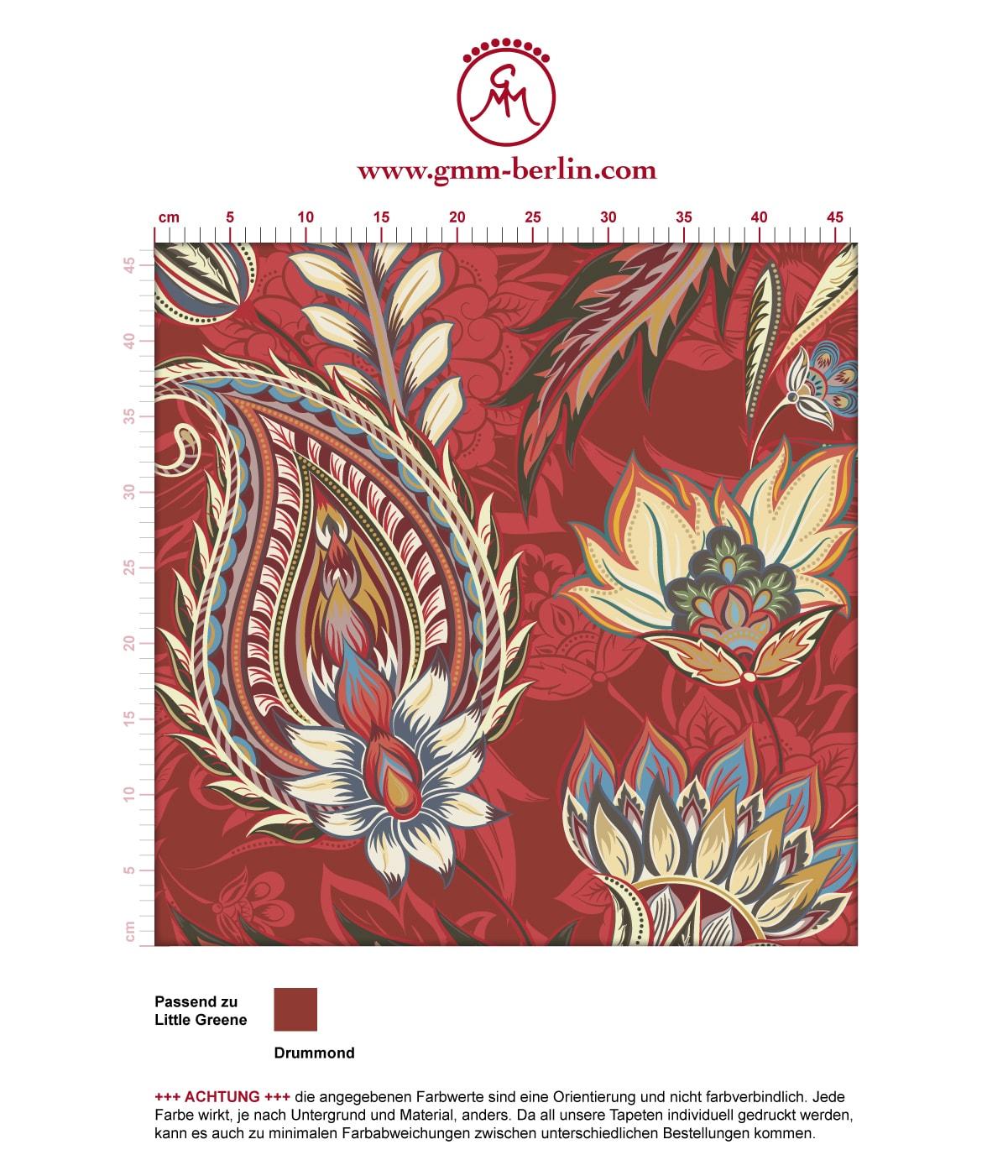 Groß gemusterte rote Designer Tapete