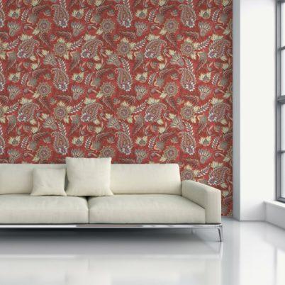 "Groß gemusterte rote Designer Tapete ""Classic Paisley"" mit dekorativem Blatt Muster angepasst an Little Greene Wandfarben"