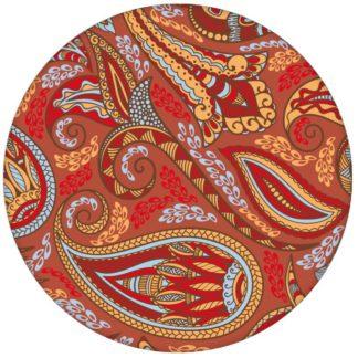 """Rote edle Design Tapete """"Grand Paisley"""" mit großem dekorativem Blatt Muster für Wohnzimmer"""