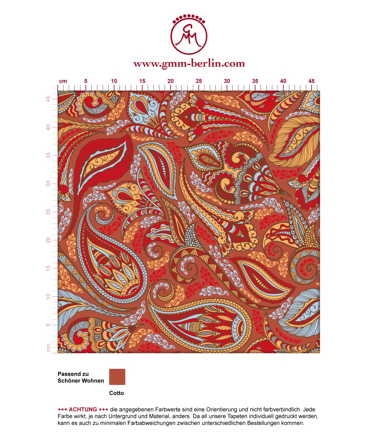 Rote edle design tapete grand paisley schlafzimmer gmm - Wandfarben muster katalog ...