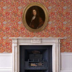 """Rote edle Designer Tapete """"Grand Paisley"""" mit großem dekorativem Blatt Muster angepasst an Schöner Wohnen Wandfarben"""