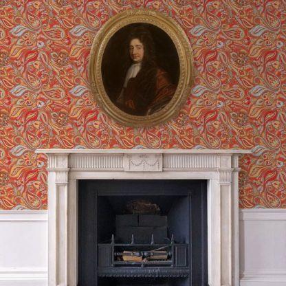 """Wandtapete rot: Rote edle Designer Tapete """"Grand Paisley"""" mit großem dekorativem Blatt Muster angepasst an Schöner Wohnen Wandfarben"""