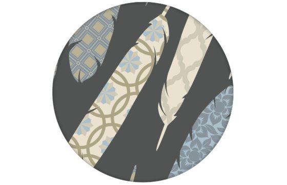 "Graue moderne Tapete ""Fancy Feathers"" mit dekorativem Feder Muster Wandgestaltung"