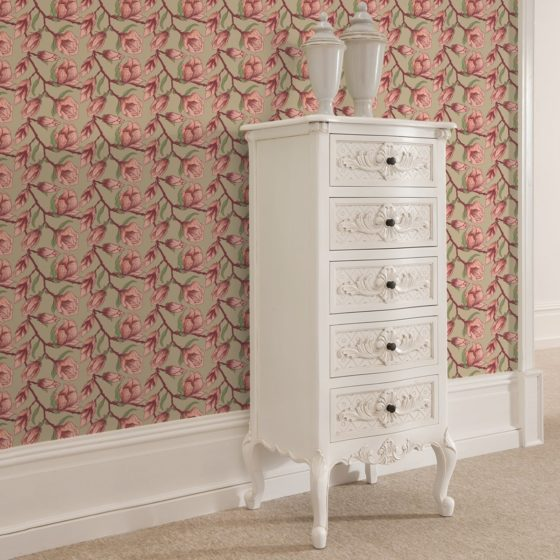 "Edle beige Blüten Tapete ""Blooming Magnolia"" mit blühender Magnolie angepasst an Farrow and Ball Wandfarben"