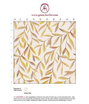 """Sonnige Weiden Tapete """"Magic Willow"""" mit Blätter Dekor auf beige angepasst an Little Greene Wandfarben"""
