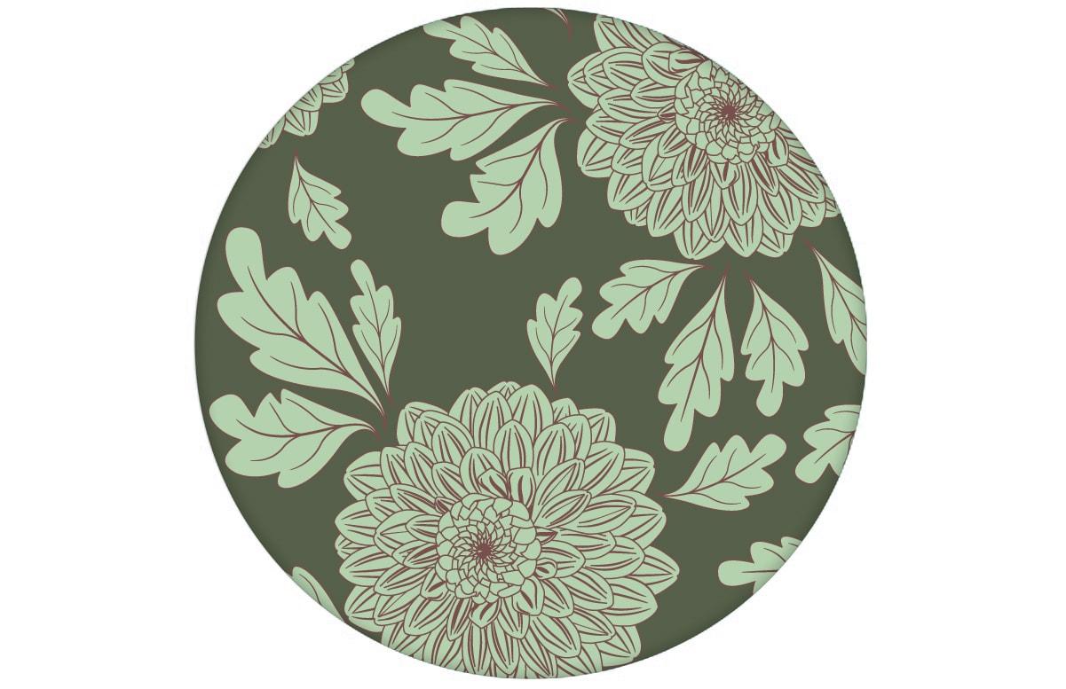 """Eleganter Tapeten Klassiker grün """"Pompadour Dahlien"""" mit edlen Blüten angepasst an Little Greene Wandfarben"""