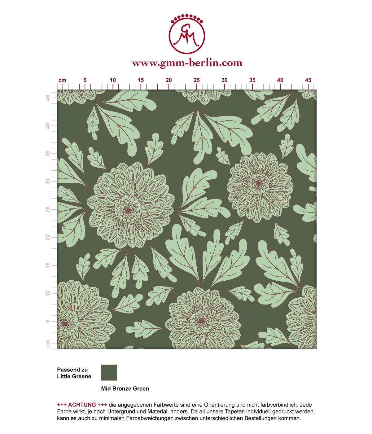 """Eleganter Tapeten Klassiker grün """"Pompadour Dahlien"""" mit edlen Blüten angepasst an Little Greene Wandfarben 3"""