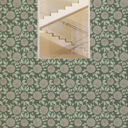 """Wandtapete dunkel grün: Eleganter Tapeten Klassiker grün """"Pompadour Dahlien"""" mit edlen Blüten angepasst an Little Greene Wandfarben"""