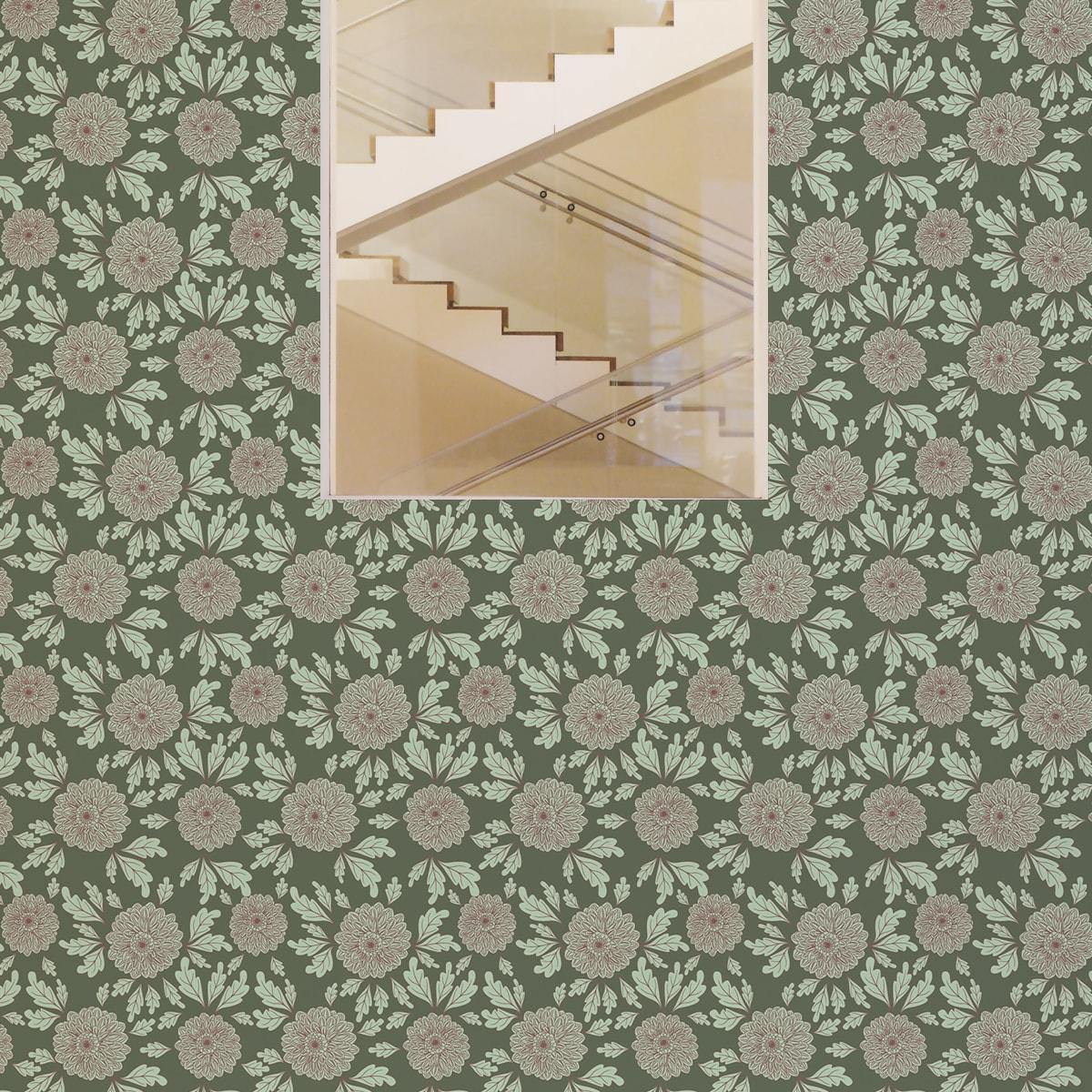 """Eleganter Tapeten Klassiker grün """"Pompadour Dahlien"""" mit edlen Blüten angepasst an Little Greene Wandfarben 2"""