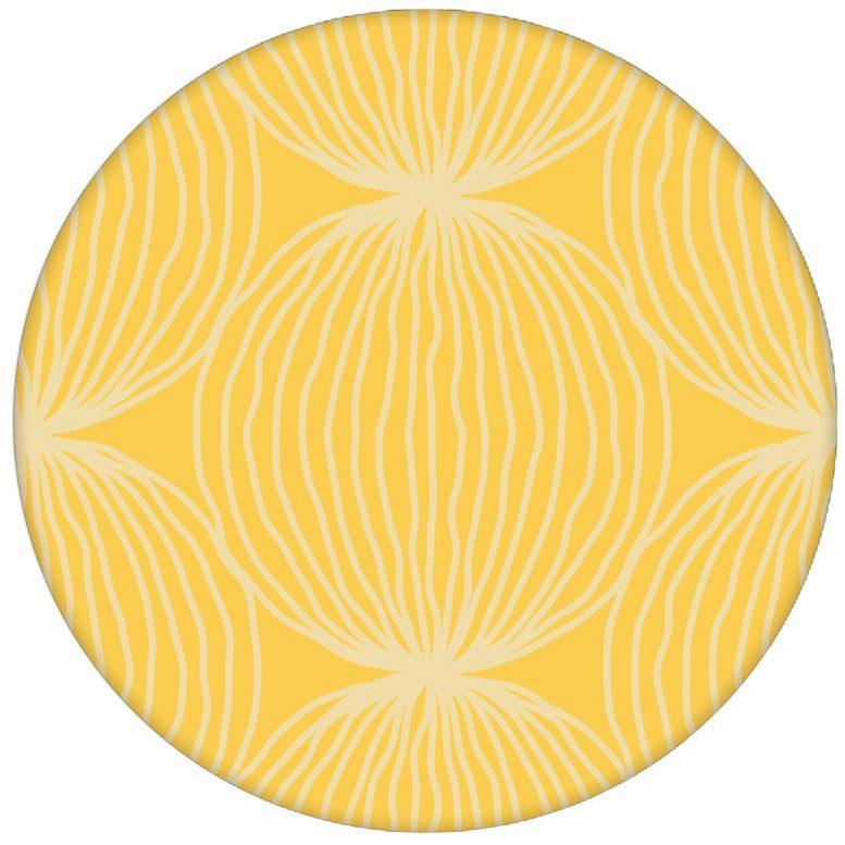 """Gelbe moderne Design Tapete """"Grafic Pompoms"""" mit Kreis Kugel Motiv für Wohnzimmer aus den Tapeten Neuheiten Exklusive Tapete für schönes Wohnen als Naturaltouch Luxus Vliestapete oder Basic Vliestapete"""