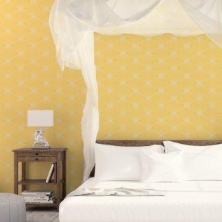"""Wandtapete gelb: Gelbe moderne Designer Tapete """"Grafic Pompoms"""" mit Kreis Kugel Motiv angepasst an Schöner Wohnen Wandfarben"""