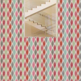 """Wandtapete rot: Rote moderne Designer Tapete """"Regenbogen Waben"""" mit bunten Farben angepasst an Farrow and Ball Wandfarben"""