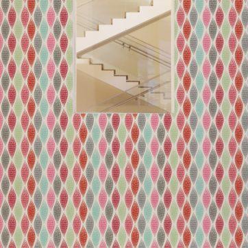 "Rote moderne Designer Tapete ""Regenbogen Waben"" mit bunten Farben angepasst an Farrow and Ball Wandfarben"