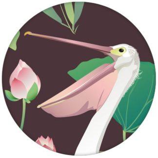 """Braune Vogel Tapete """"Pelican Pond"""" mit Pelikanen und Seerosen große Wandgestaltung"""