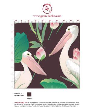 "Braune Vogel Tapete ""Pelican Pond"" mit Pelikanen und Seerosen angepasst an Farrow and Ball Wandfarben"
