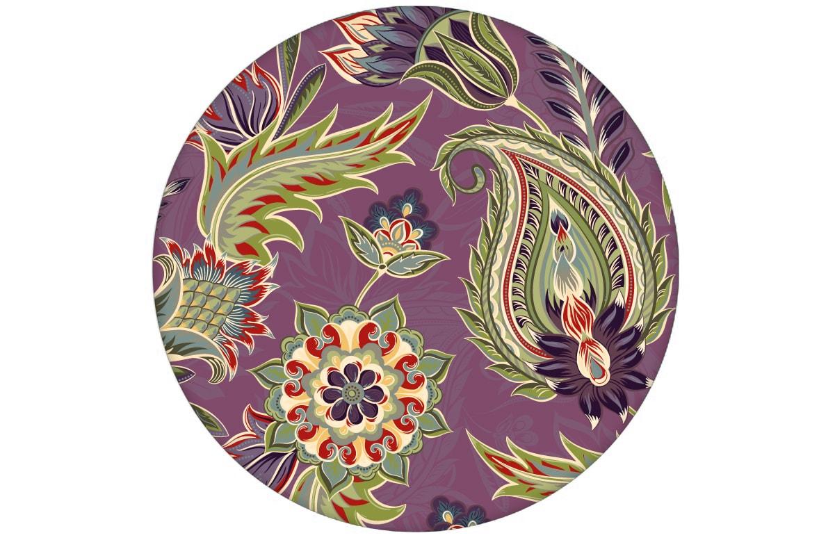 "Lila edle Designer Tapete ""Classic Paisley"" mit dekorativem Blatt Muster (klein) angepasst an Ikea Wandfarben"