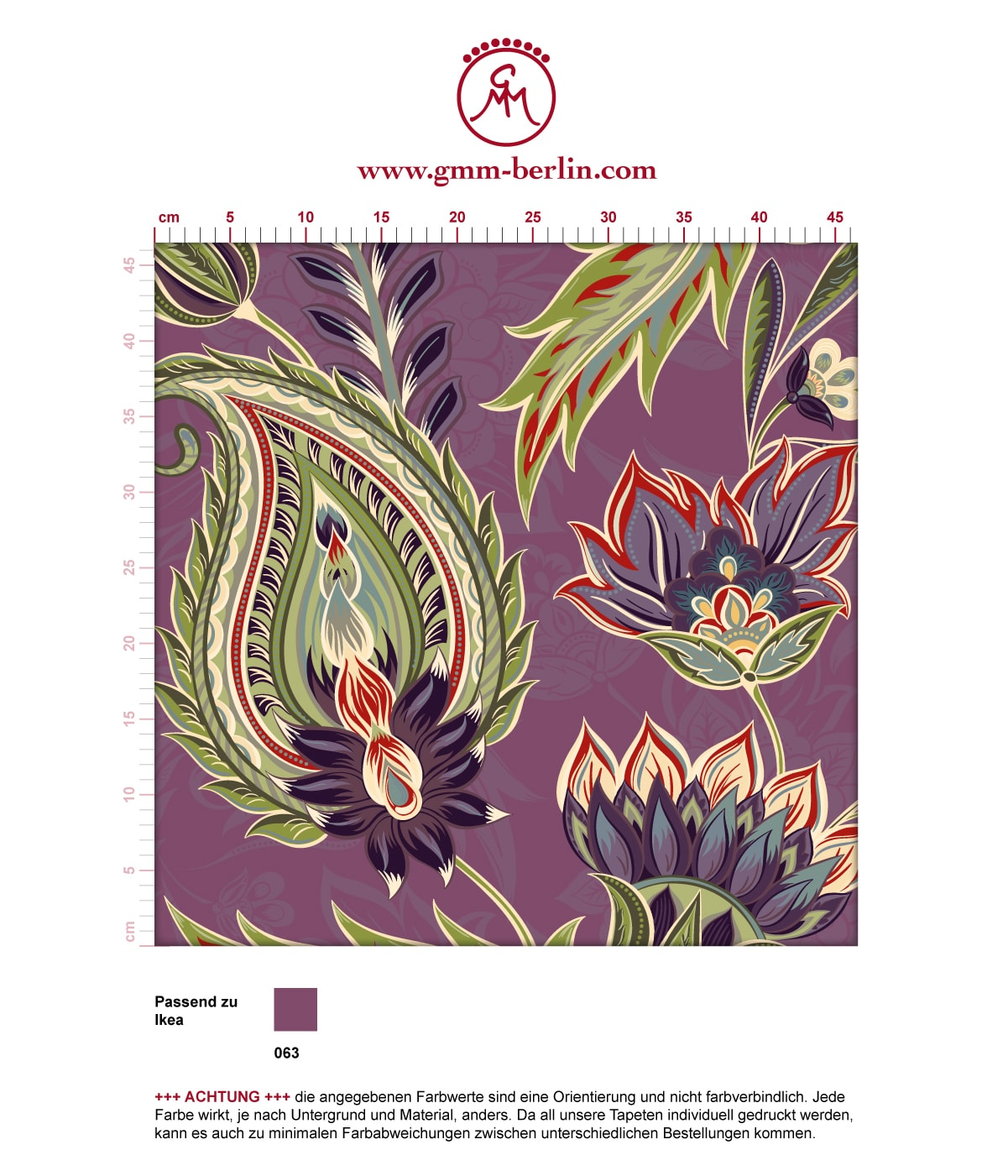 "Groß gemusterte lila Designer Tapete ""Classic Paisley"" mit dekorativem Blatt Muster angepasst an Ikea Wandfarben 3"