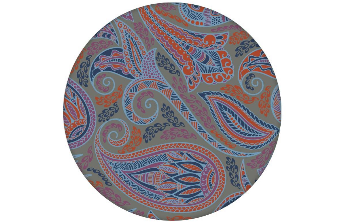 "Graue edle Designer Tapete ""Grand Paisley"" mit großem dekorativem Blatt Muster angepasst an Ikea Wandfarben"