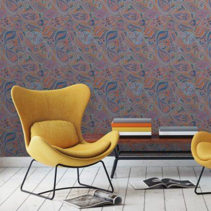 "Wandtapete orange: Graue edle Designer Tapete ""Grand Paisley"" mit großem dekorativem Blatt Muster angepasst an Ikea Wandfarben"