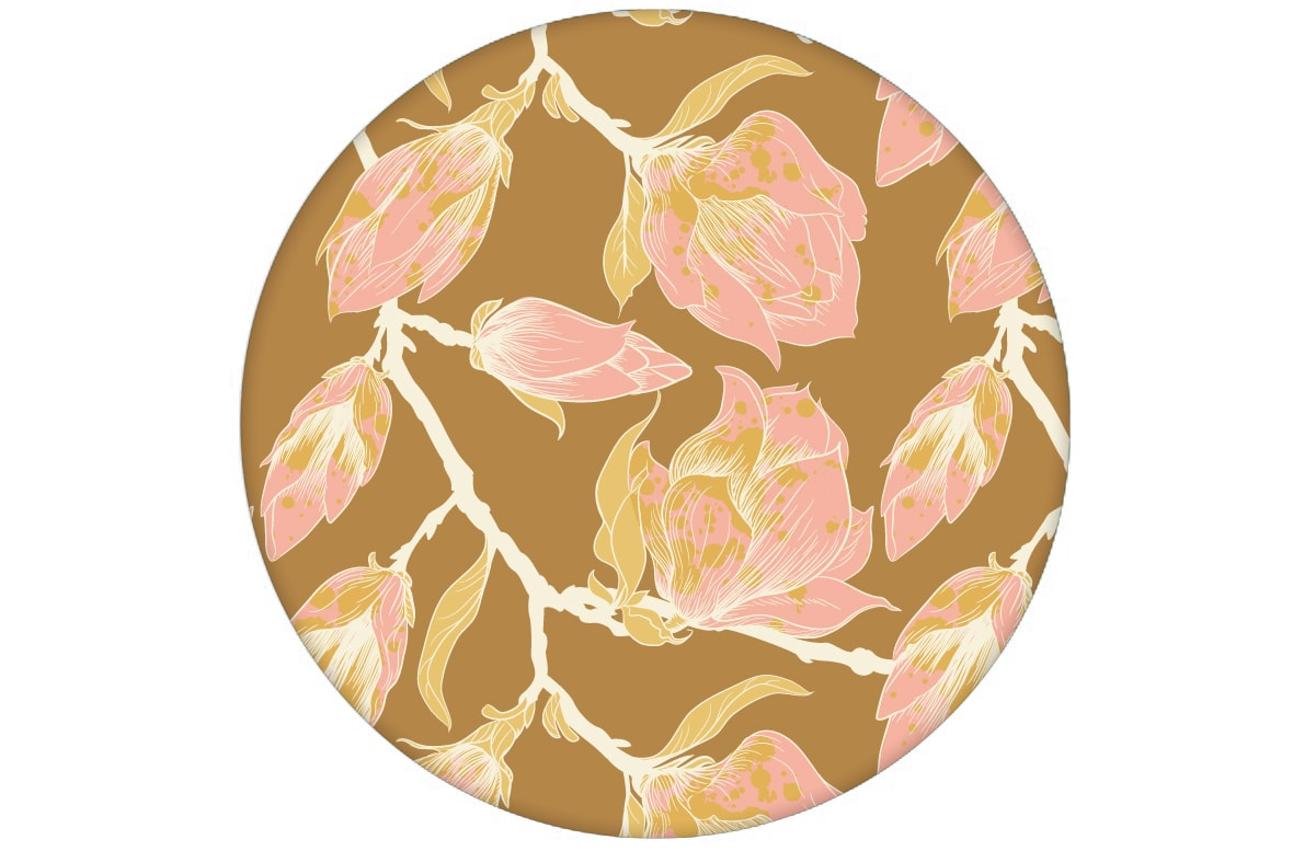 "Tolle rosa Blüten Tapete ""Blooming Magnolia"" mit blühender Magnolie angepasst an Farrow and Ball Wandfarben"