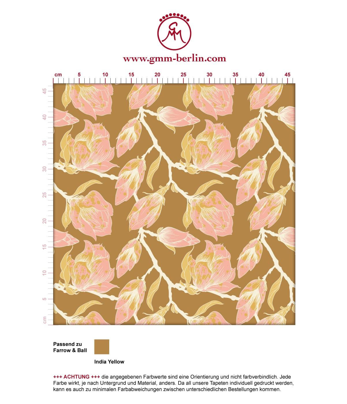"Tolle rosa Blüten Tapete ""Blooming Magnolia"" mit blühender Magnolie angepasst an Farrow and Ball Wandfarben 3"