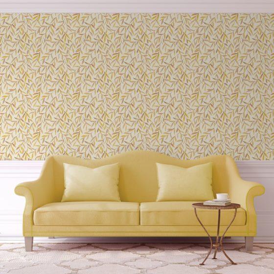 """Gelbe Weiden Tapete """"Magic Willow"""" mit Blätter Dekor angepasst an Little Greene Wandfarben"""