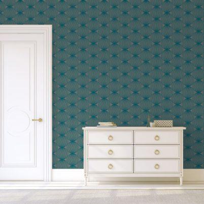 """Petrol farbene moderne Designer Tapete """"Grafic Pompoms"""" mit Kreis Kugel Motiv angepasst an Ikea Wandfarben"""