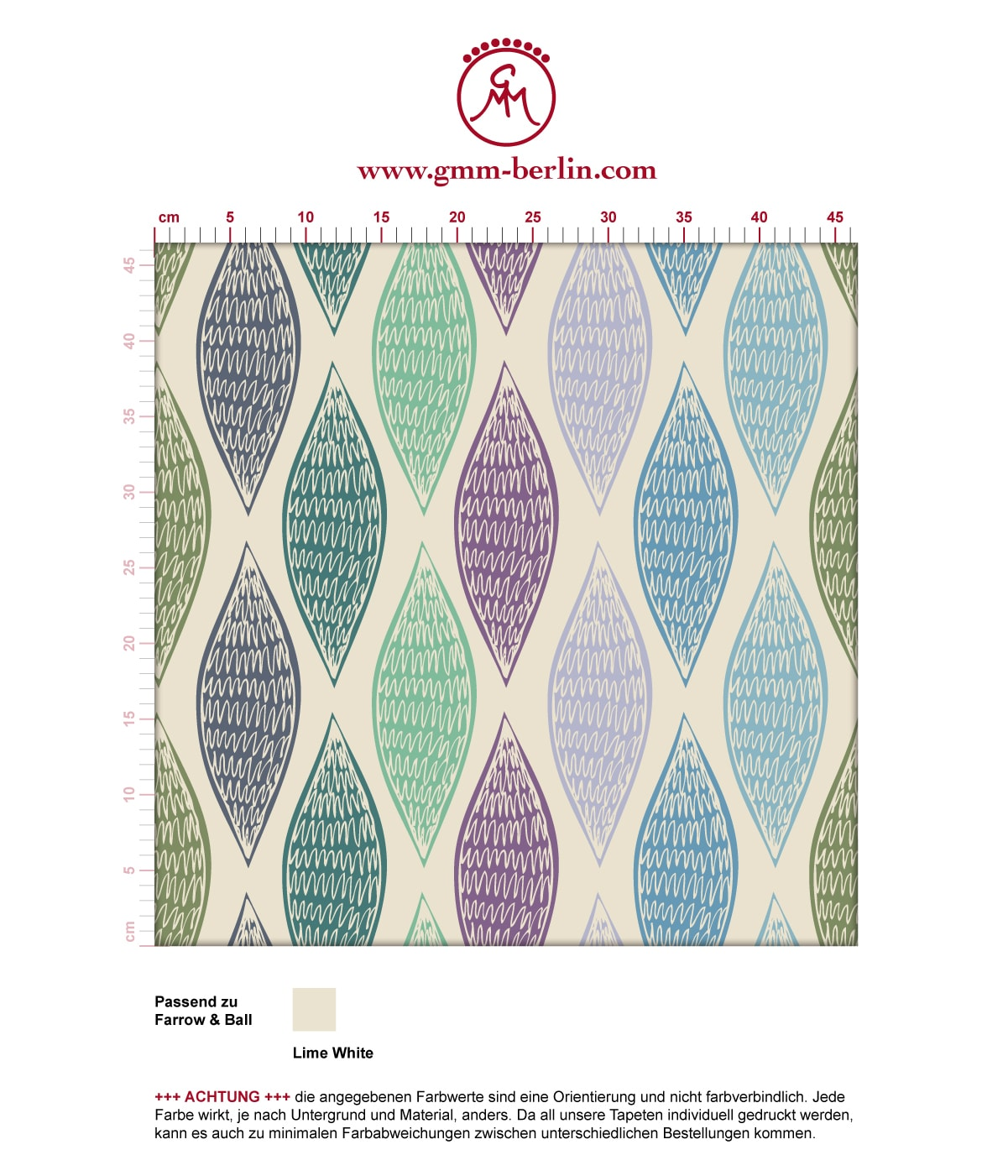 """Grüne moderne Designer Tapete """"Regenbogen Waben"""" mit bunten Farben angepasst an Farrow and Ball Wandfarben"""